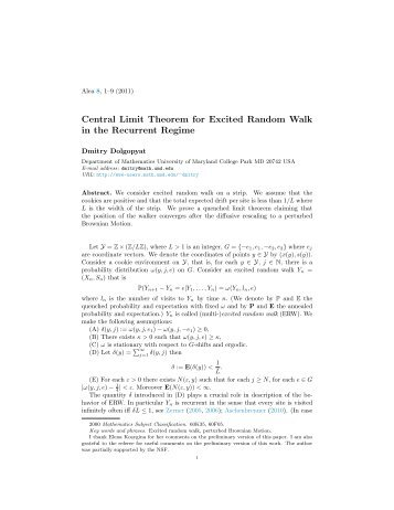 Central Limit Theorem for Excited Random Walk in the Recurrent ...