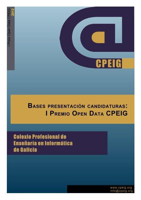 Bases presentación candidaturas: I Premio Open Data CPEIG