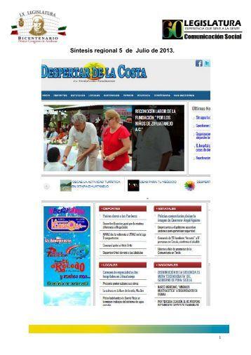 Síntesis regional 5 de Julio de 2013. - Congreso del Estado de ...