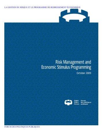 la gestion du risque et le programme de redressement économique ...