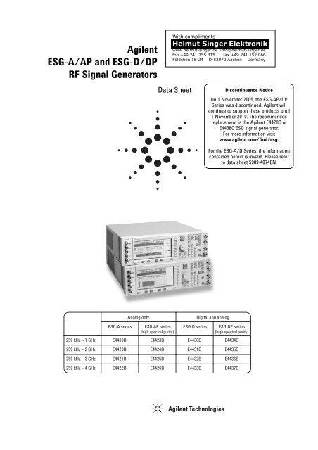 Agilent ESG-A/AP and ESG-D/DP RF Signal Generators