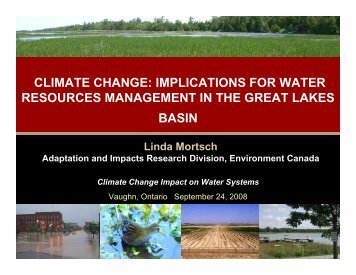 CLIMATE CHANGE: IMPLICATIONS FOR WATER RESOURCES ...