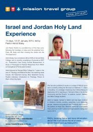 Israel and Jordan Holy Land Experience - 12-27 ... - Mission Travel