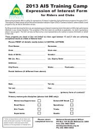 Expression of Interest Form - Motorcycling Australia