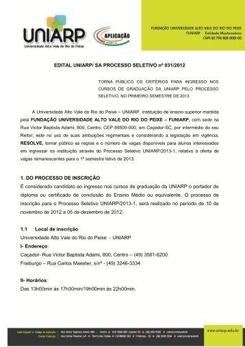 EDITAL 031-2012 PROCESSO SELETIVO 2013 1.pdf - Uniarp