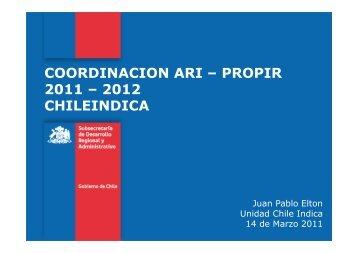coordinacion ari – propir 2011 - PMG - Descentralización