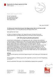 Regionalrat im Regierungsbezirk Köln SPD-Fraktion zum Thema ...