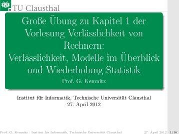 Große Übung zu Foliensatz 1 - Technische Universität Clausthal