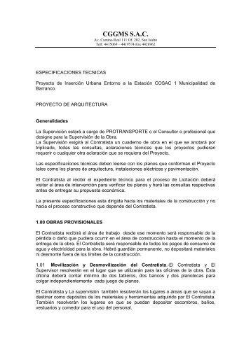 Especificaciones Técnicas de Arquitectura - Protransporte