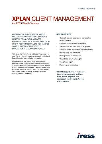 XPLAN CRM Factsheet - IRESS New Zealand