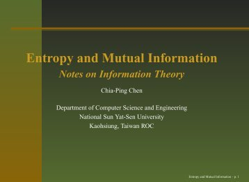 Entropy and Mutual Information