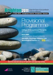 Provisional Programme 2011 - College of Occupational Therapists