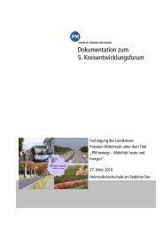 Dokumentation zum 5. Kreisentwicklungsforum - Landkreis Potsdam ...
