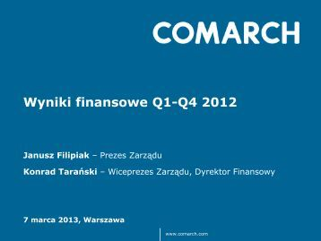 Wyniki finansowe Q1-Q4 2012 - Comarch
