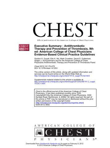 Evidence-Based Clinical Practice Guidelines ed: American College ...