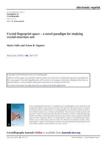 electronic reprint Crystal fingerprint space – a novel ... - Mario Valle