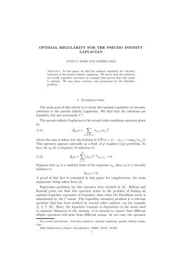 OPTIMAL REGULARITY FOR THE PSEUDO INFINITY ... - CAPDE