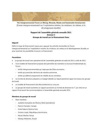 [Forum intergouvernemental sur l'exploitation minière, les minéraux ...