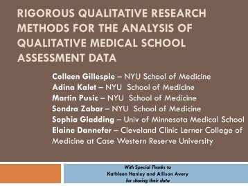 Rigorous Qualitative Research Methods for the Analysis of ...