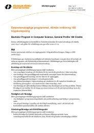 Datavetenskapliga programmet, allmän inriktning, 180 hp