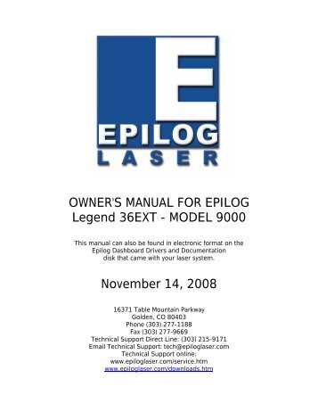 OWNER'S MANUAL FOR EPILOG Legend 36EXT - MODEL 9000 ...