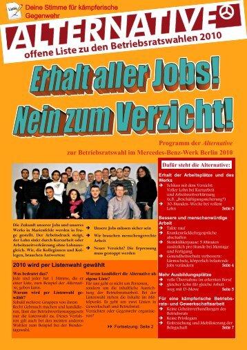 Programm der Alternative zur Betriebsratswahl im Mercedes-Benz ...