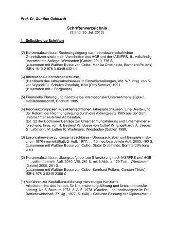 Schriftenverzeichnis gesamt - Rechnungswesen - Goethe-Universität