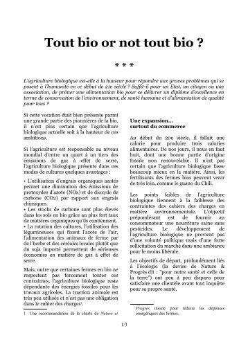 Tout bio or not tout bio ? PDF a4 - 162,0 Ko