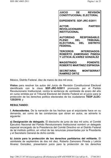 SDF-JRC-005/22011 - Tribunal Electoral del Distrito Federal