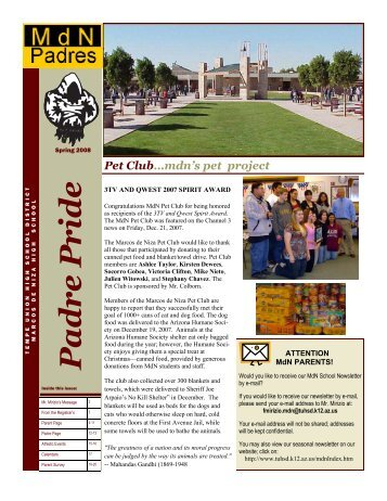 mdn newsletter Spring 08 revi - Tempe Union High School District