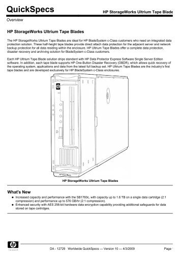 HP StorageWorks Ultrium Tape Blades