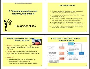 Telecommunications and networks, the Internet