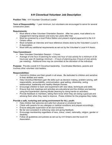 4-H Cloverbud Volunteer Job Description - 4-H Ontario