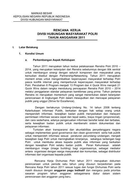 Rencana Kerja Divisi Hubungan Masyarakat Ppid Polri