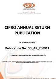 CIPRO ANNUAL RETURN PUBLICATION - I Karolia & Co - Home