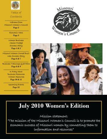 July 2010 Women's Edition - Missouri Women's Council