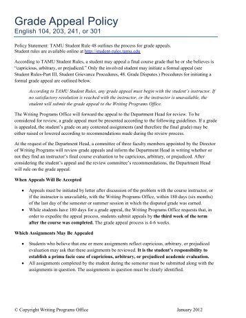 Grade Appeal Policy - Department of English - Texas A&M University