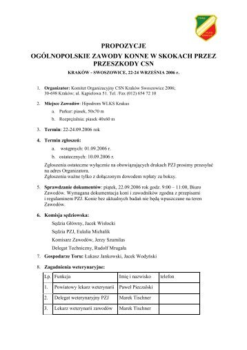 propozycje - Małopolski Związek Jeździecki