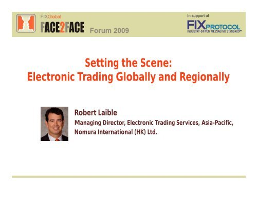 Electronic Trading Globally and Regionally - Plus Concepts