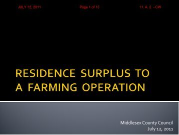 residence surplus to a farming operation - County of Middlesex
