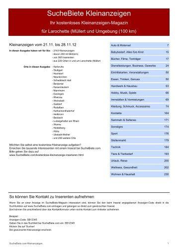 SucheBiete Kleinanzeigenzeitung Larochette (Müllert