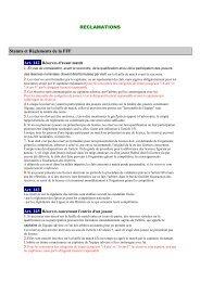 RECLAMATIONS Statuts et Règlements de la FFF Art. 143 - Footeo