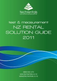 Test & Measurement NZ RENTAL SOLUTION GUIDE ... - TechRentals
