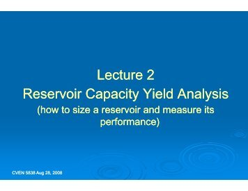 Lectu Reservoir Capac ure 2 city Yield Analysis