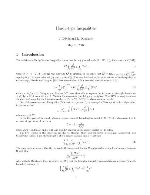 Hardy-type Inequalities - CAPDE