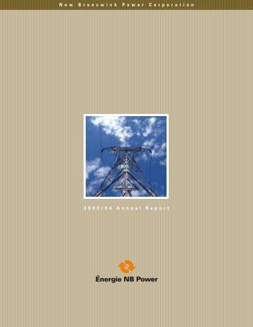 Annual Report 2003 - New Brunswick Electric Power