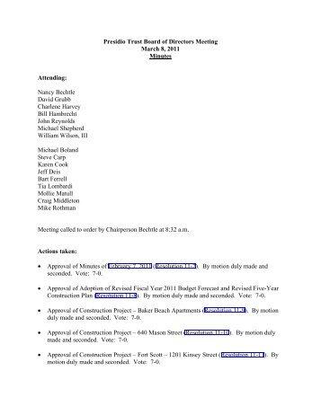 Presidio Trust Board of Directors Meeting March 8, 2011 Minutes ...