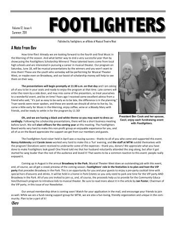 FOOTLIGHTER NEWSLETTER (Read-Only) - Musical Theatre West