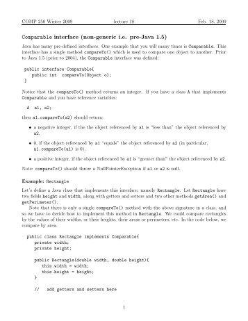 Comparable interface (non-generic i.e. pre-Java 1.5)