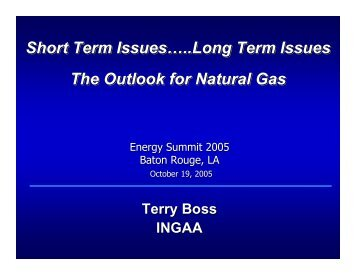 Short Term Issues…..Long Term Issues The Outlook for Natural Gas ...